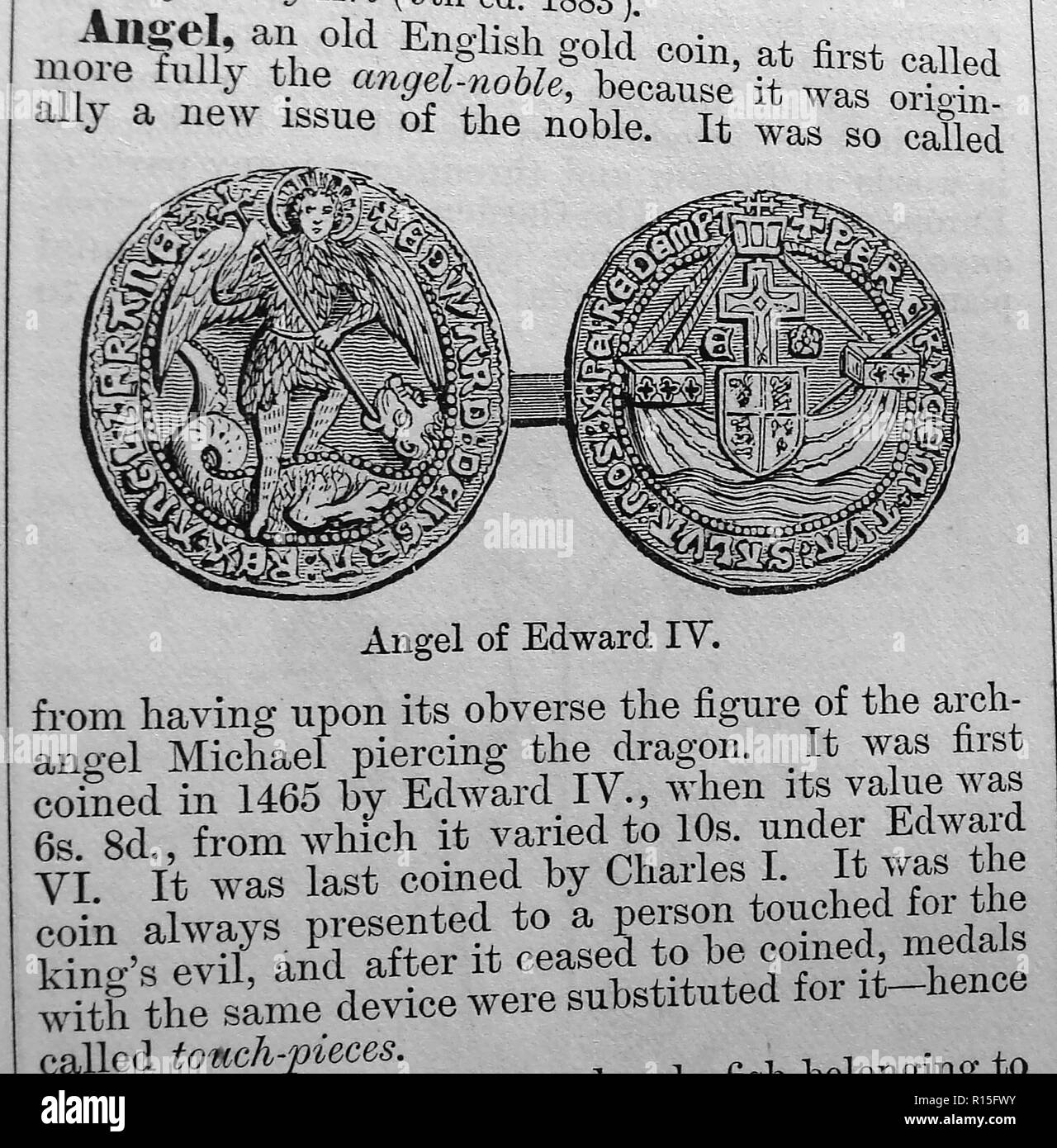 An Angel (old English coin) from an entry in Chamber's Encyclopedia 1888 (The touch piece associated with Scrofula or the King's Evil) - Stock Image
