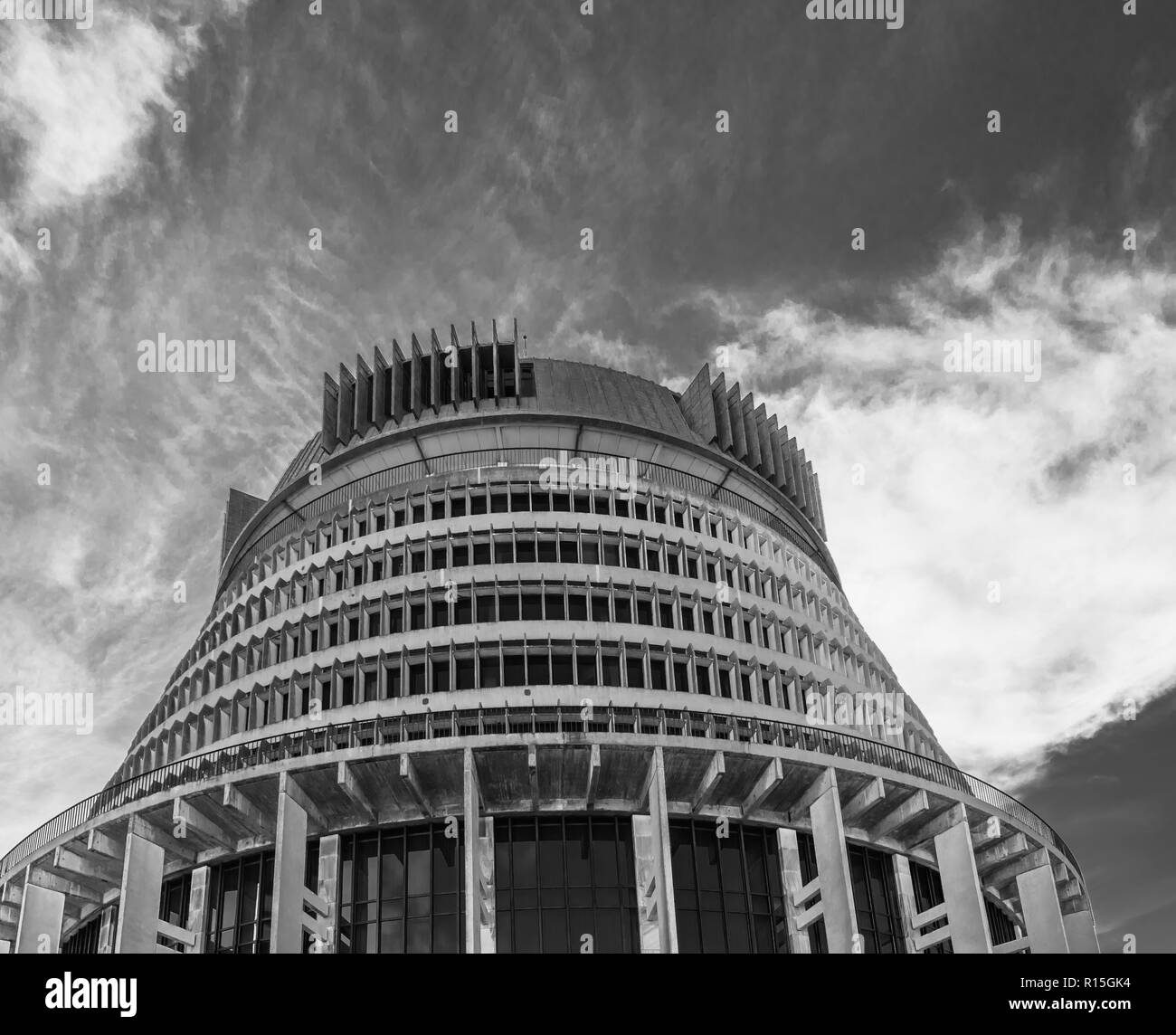 Black and white image of New Zealand Parliament House known as the Beehive in the capital city Wellington - Stock Image