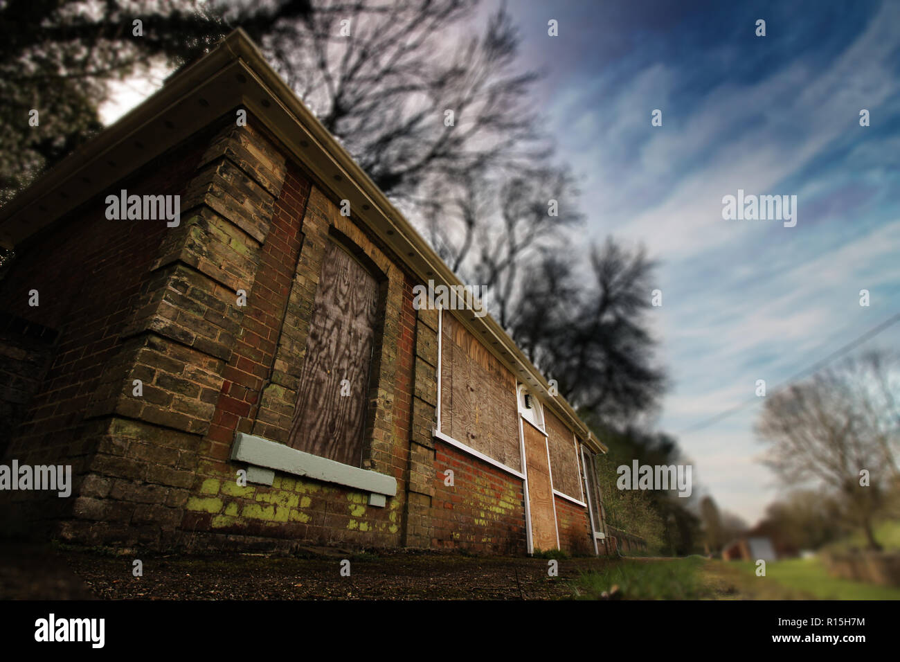 Abandoned train station in clare castle country park, suffolk. - Stock Image