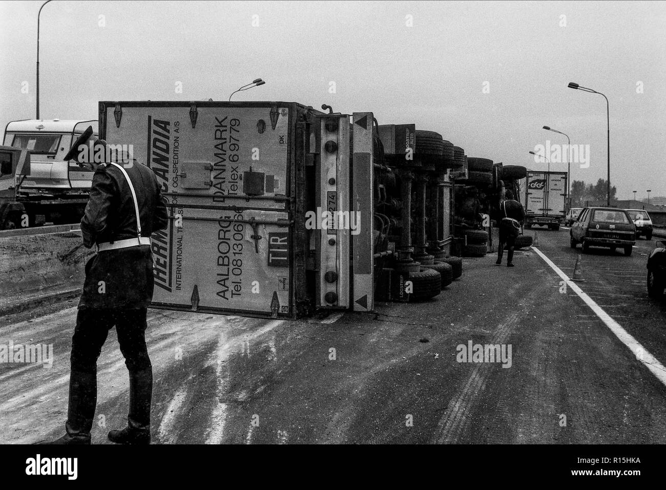 Archives 80ies. Road accident, Lyon, France Stock Photo