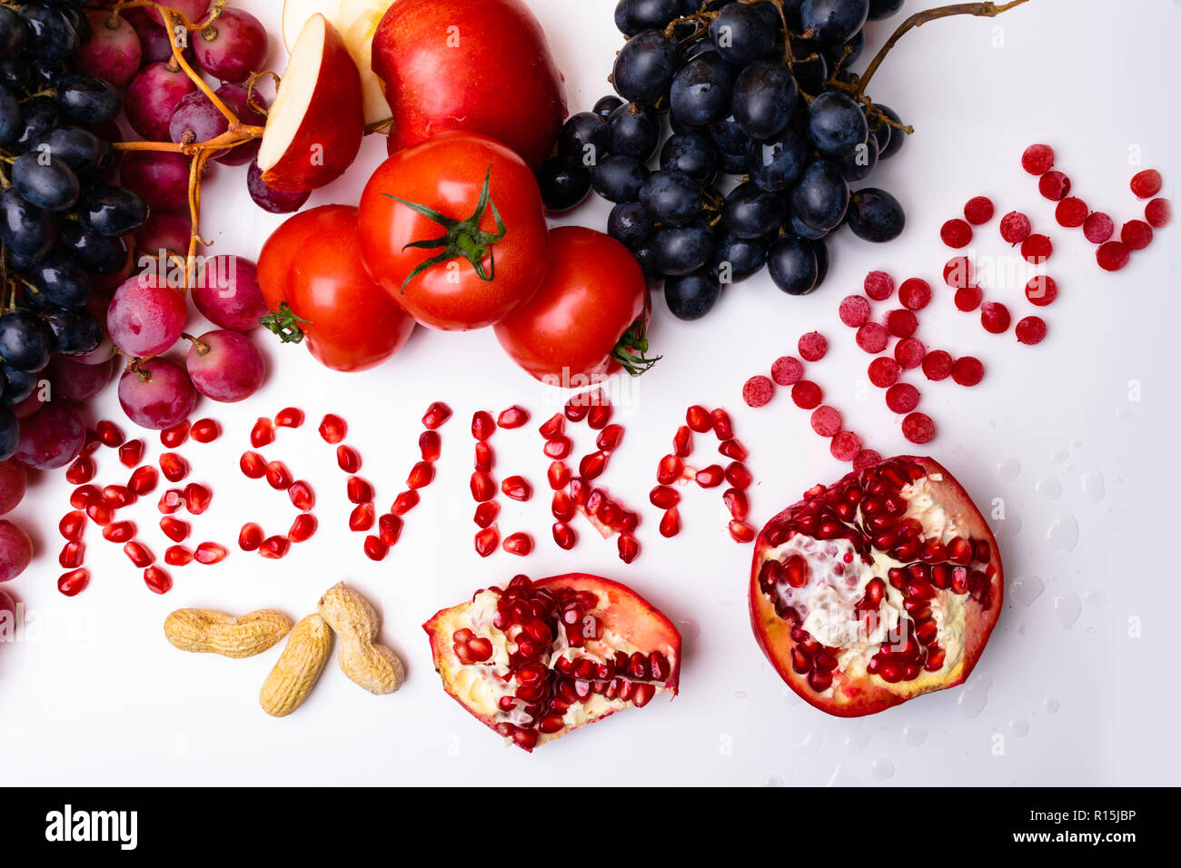 Rich With Resveratrol Food Raw Food Ingredients Nutrition Background Isolated On White Mix Of Fresh Fruits And Berries Stock Photo Alamy