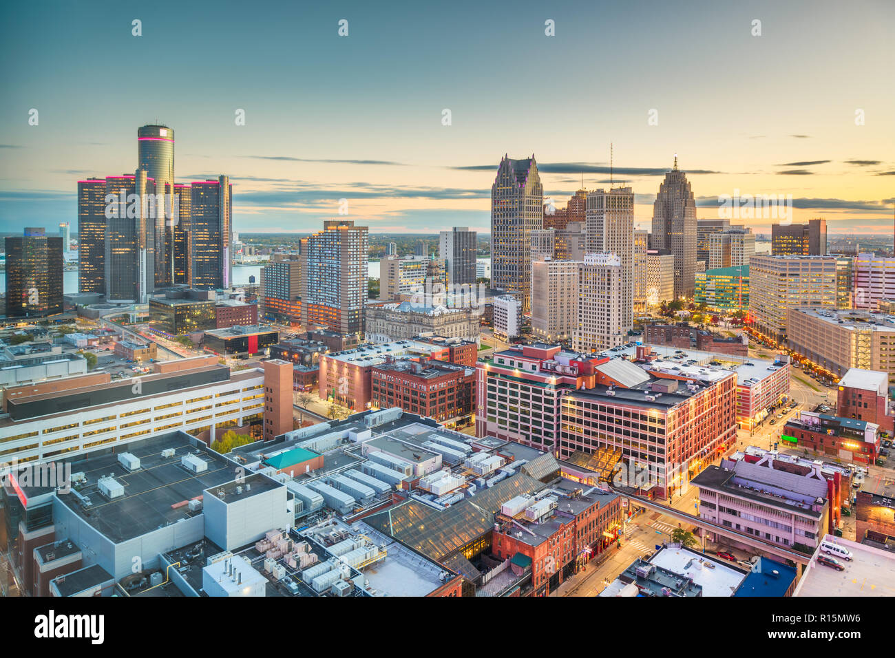 detroit michigan usa downtown skyline from above at dusk stock photo alamy https www alamy com detroit michigan usa downtown skyline from above at dusk image224475586 html