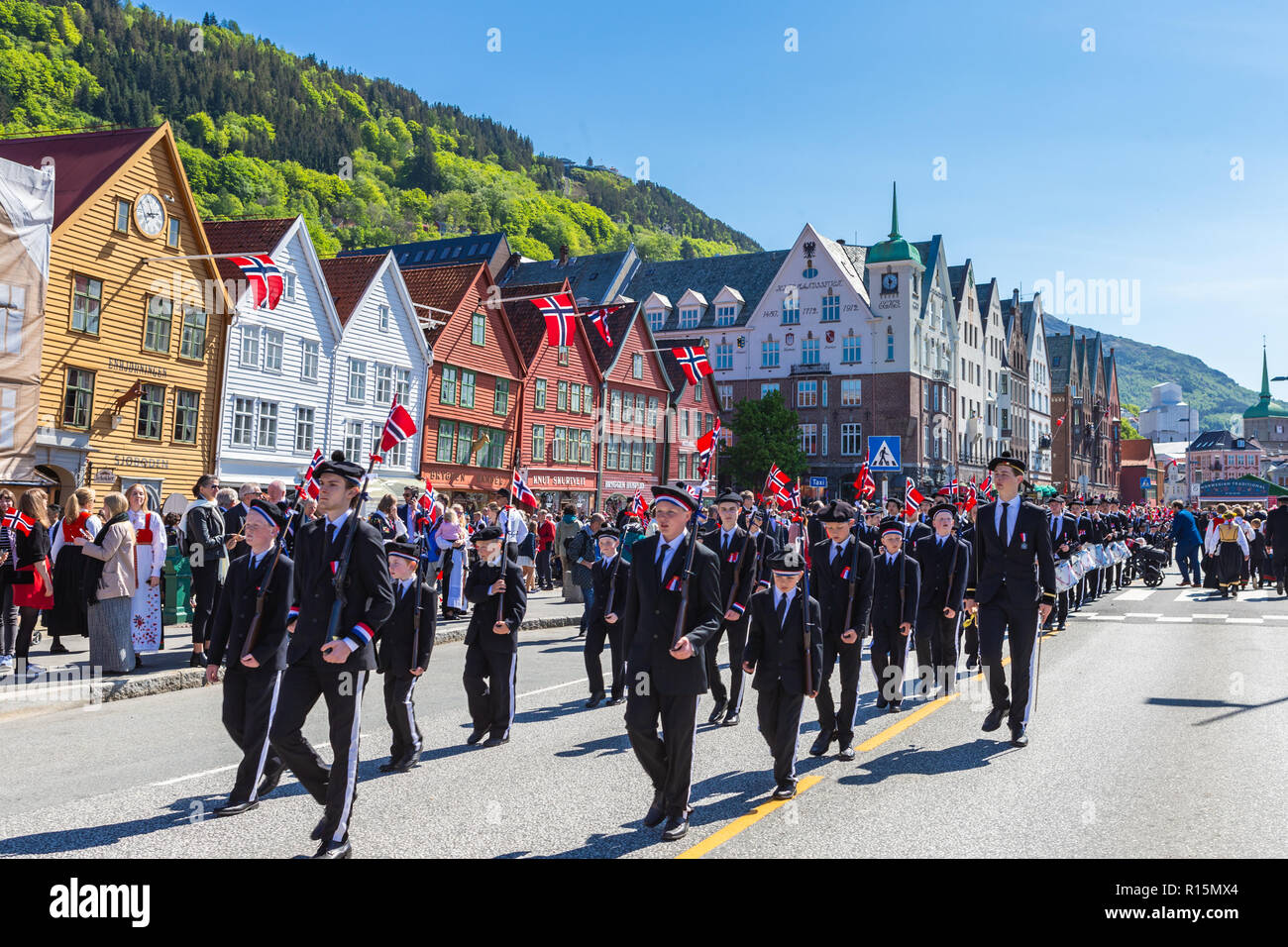 BERGEN / NORWAY - May 17, 2018: National day in Norway. Norwegians at traditional celebration and parade. Stock Photo