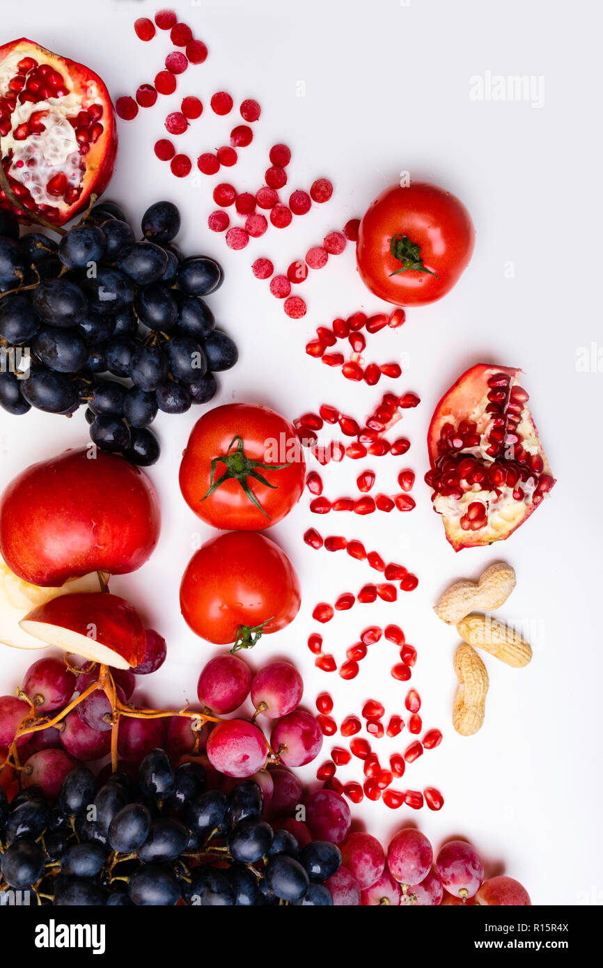 Rich With Resveratrol Food Raw Food Ingredients Nutrition Background Isolated On White Mix Of Fresh Fruits And Berries Peanuts Pomegranate Grape Stock Photo 224477370 Alamy