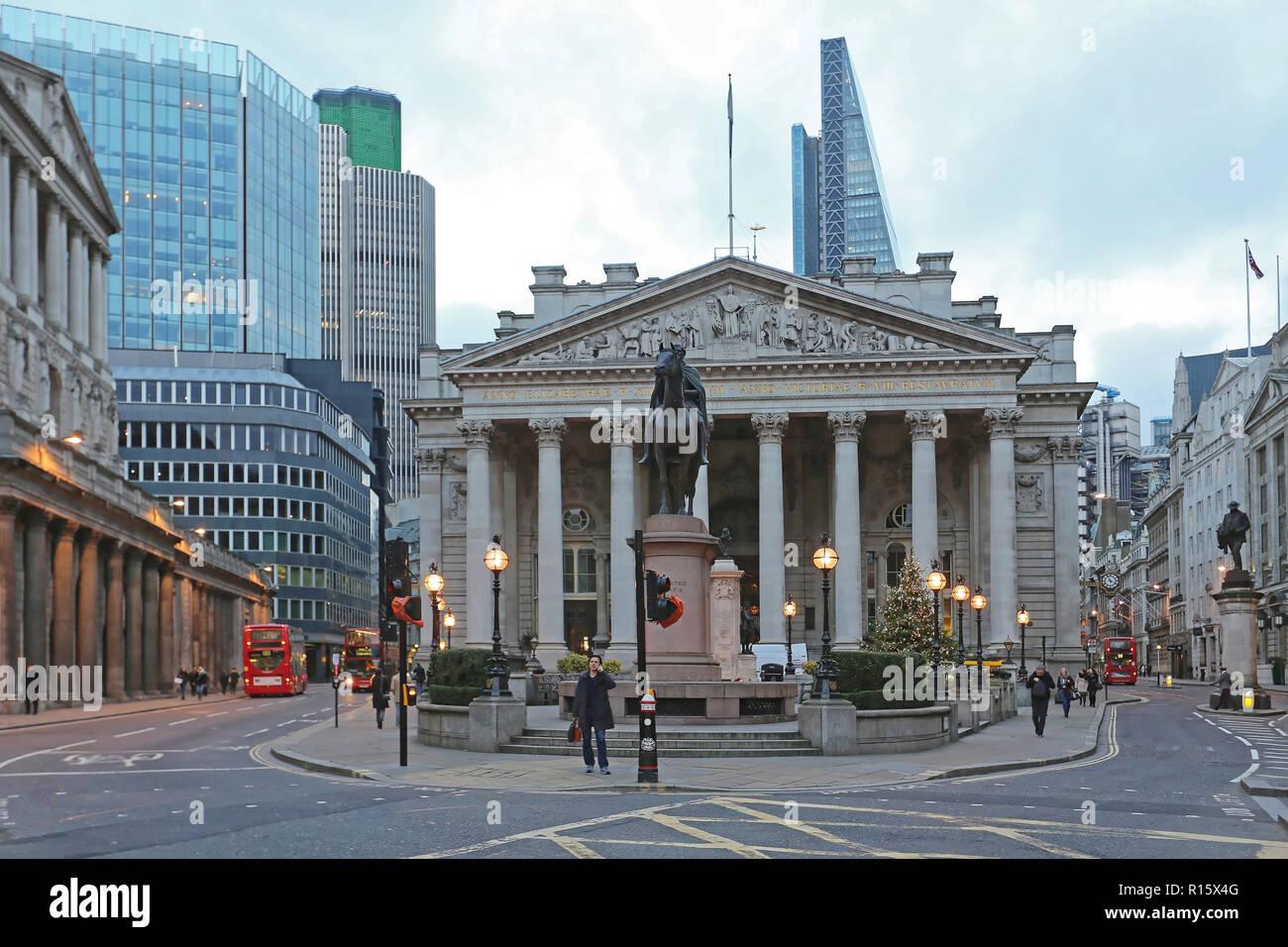 London, United Kingdom - November 23, 2013: Historic Building of Royal Exchange at Bank Junction in London, UK. - Stock Image