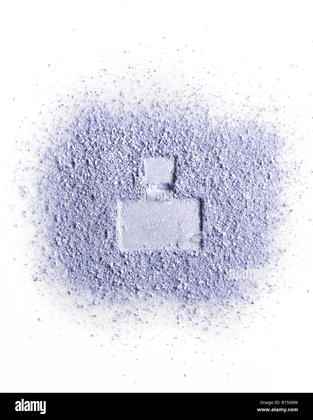 Imprint of perfume bottle on violet face powder. Isolated on a white background. - Stock Image