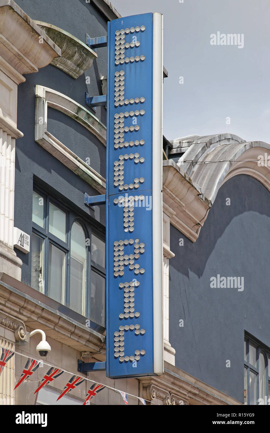 London, United Kingdom - June 23, 2012: Famous Electric Cinema Sign at Portobello Road in London, UK. - Stock Image