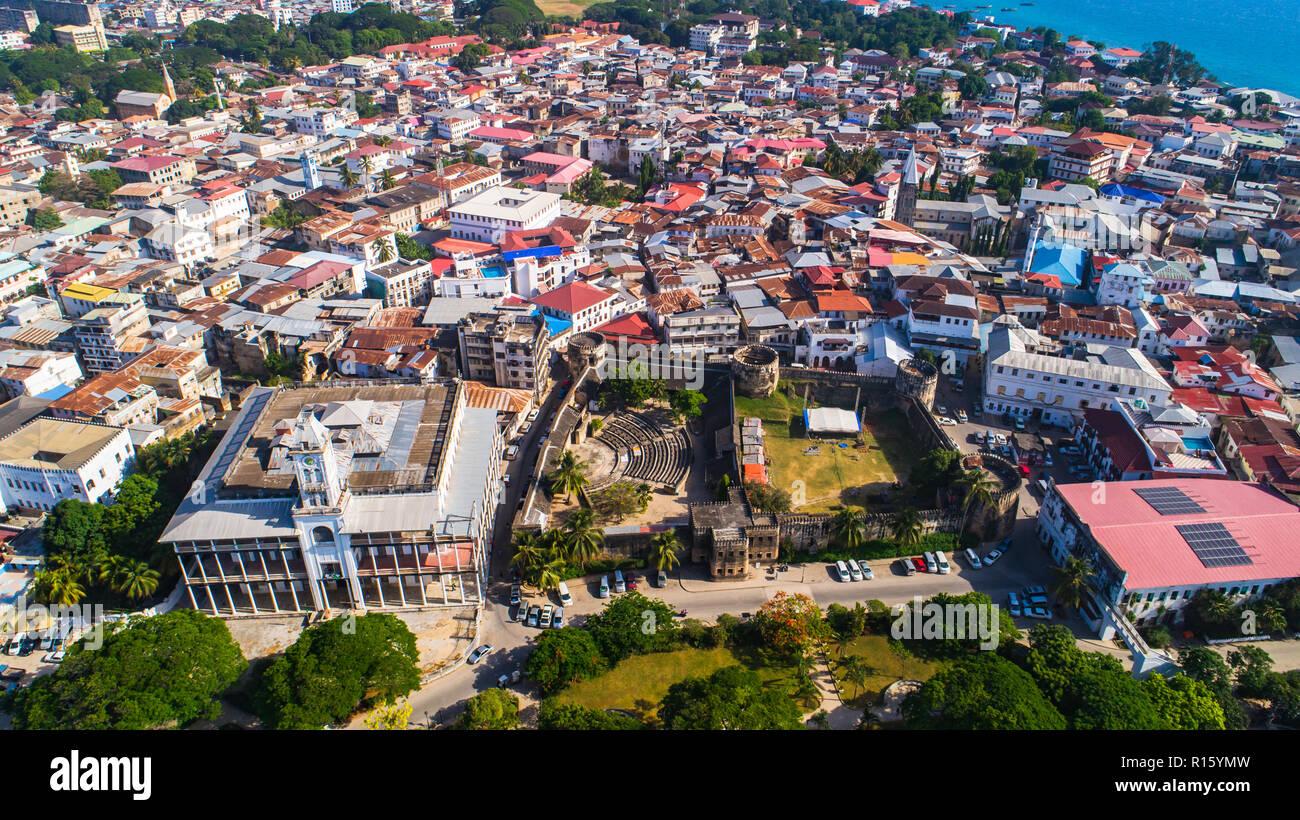 Aerial. Stone town, Zanzibar, Tanzania. Stock Photo