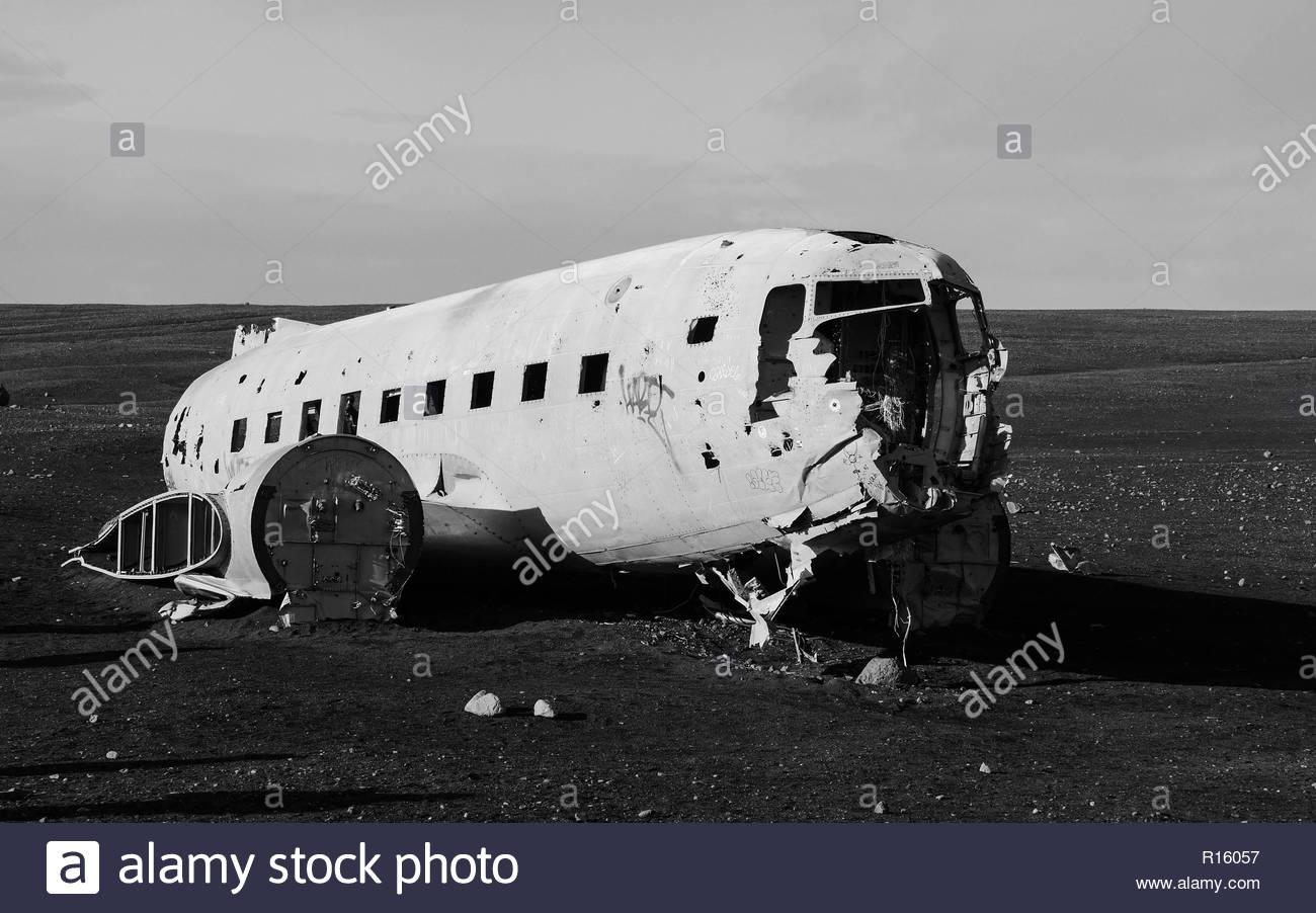 Plane wreck iceland - Stock Image