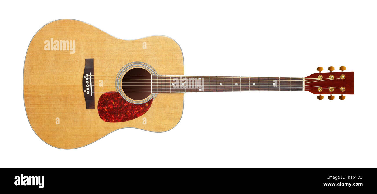 Musical Instrument Front View Classic Acoustic Guitar Isolated On