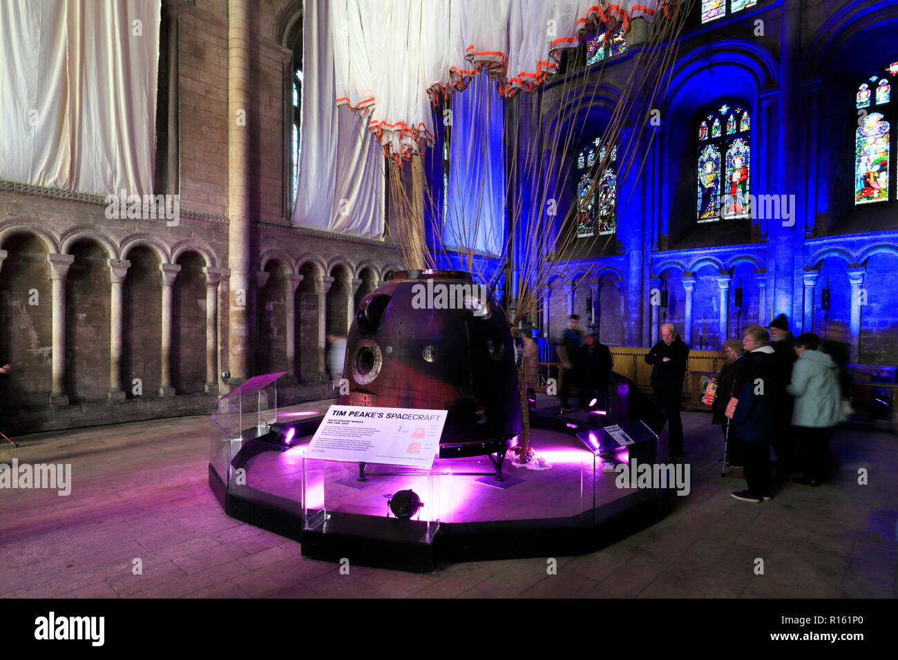 Tim Peake's spacecraft in Peterborough City Cathedral, Cambridgeshire; England; Britain; UK - Stock Image
