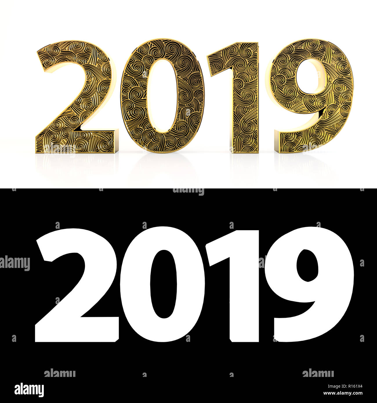 happy new year 2019 two thousand nineteen on a white background gold 3d numbers with pattern style zentangle 3d illustration