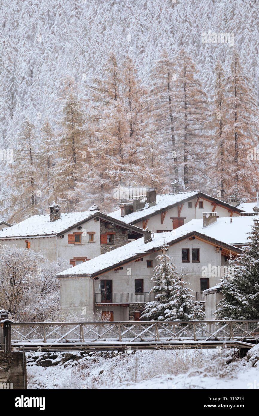 Small village in the french alps covered in snow, Bessans, France, 2018. - Stock Image