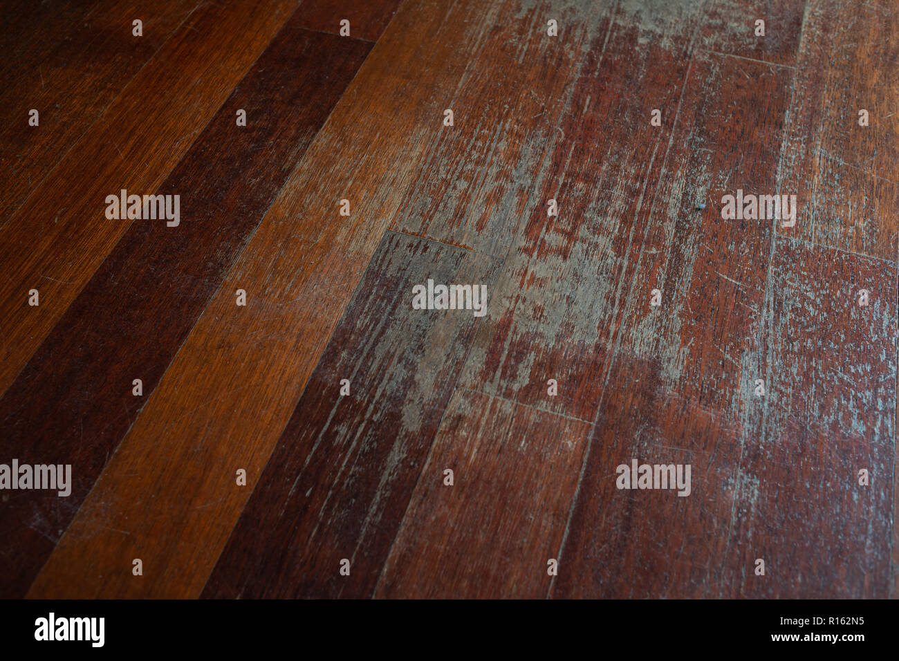 Old Scratched Hardwood Flooring In Need Of Maintenance