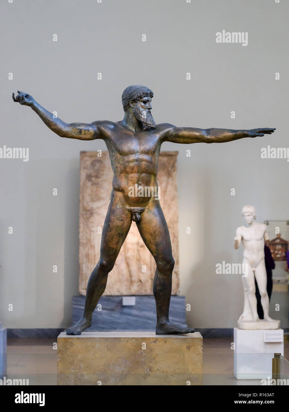 Athens. Greece. The Artemision Bronze, statue representing Poseidon or Zeus, ancient Greek sculpture of the Severe Style, dated ca. 460 B.C. National  - Stock Image