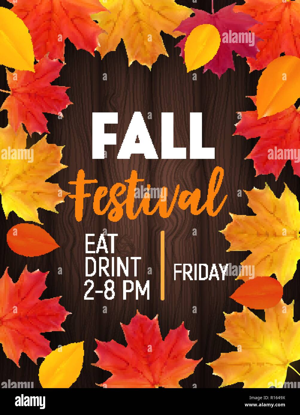 Fall Festival Background with Shiny Autumn Natural Leaves. Vector Illustration Stock Vector