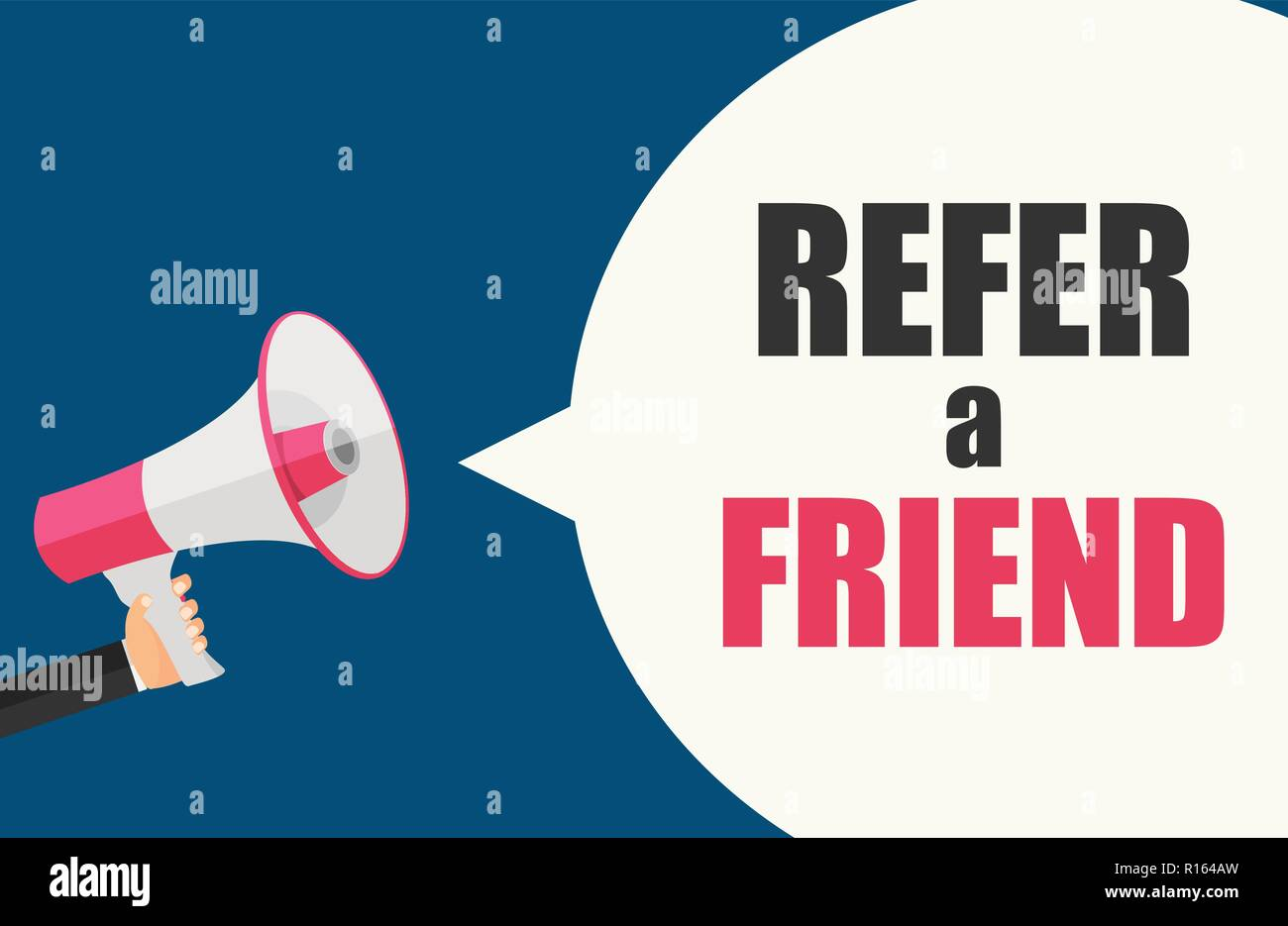 Refer a Friend Poster with Megaphone and Hand. Vector Illustration  - Stock Image