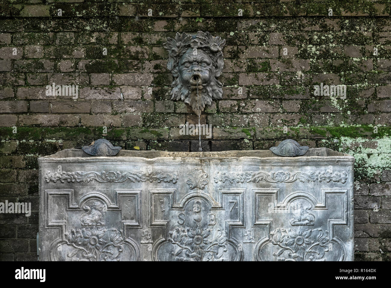Antique garden trough, Mt. Cuba Center, Delaware, USA. - Stock Image