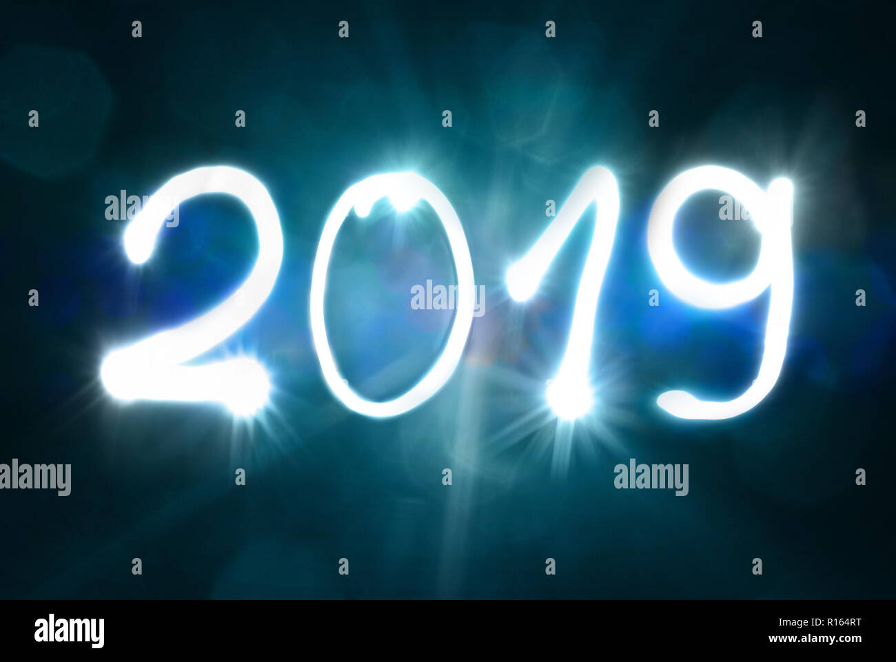 2019 new years eve two thousand nineteen exposure - Stock Image