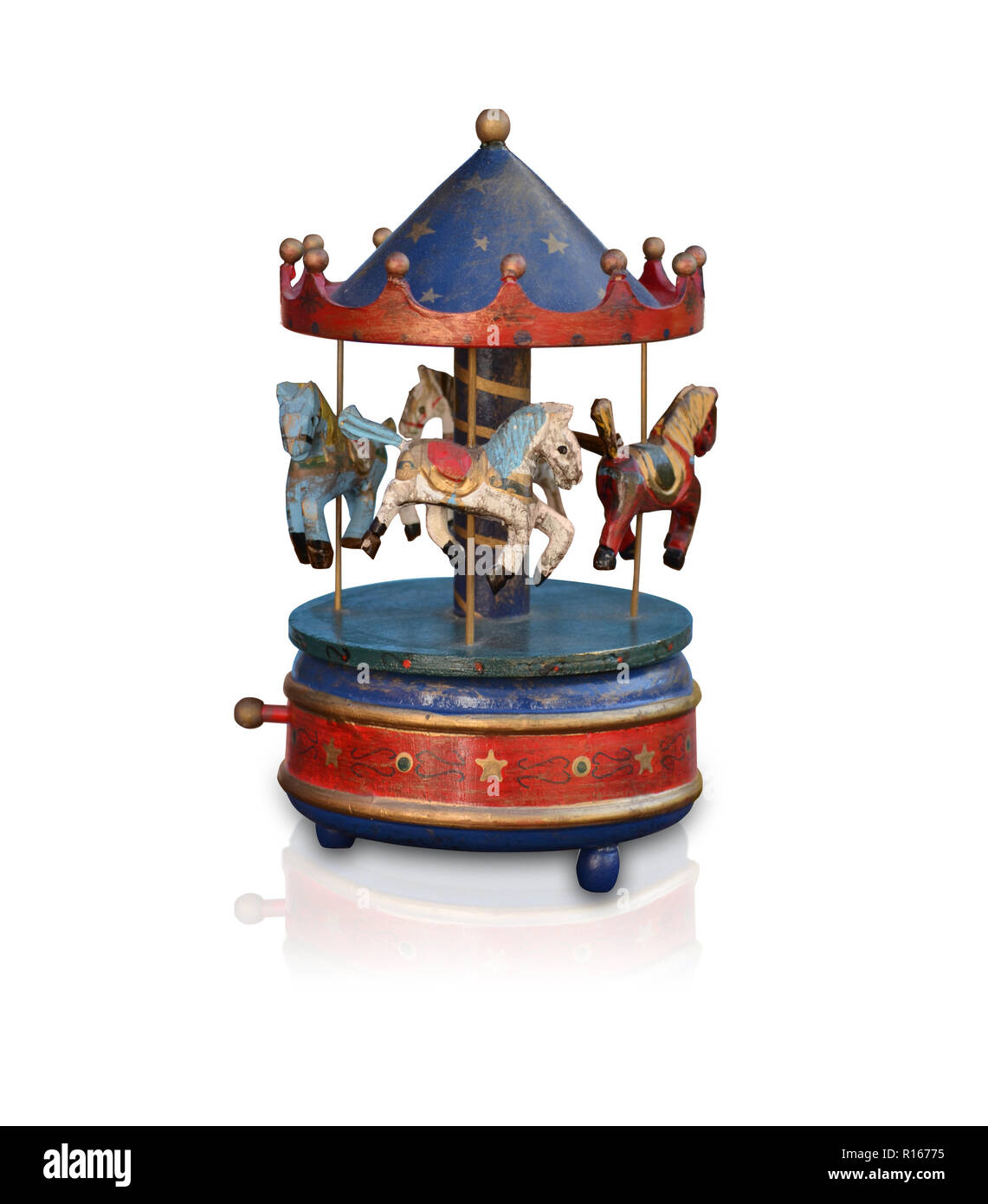 music box christmas carousel horses vintege nostalgia Stock Photo