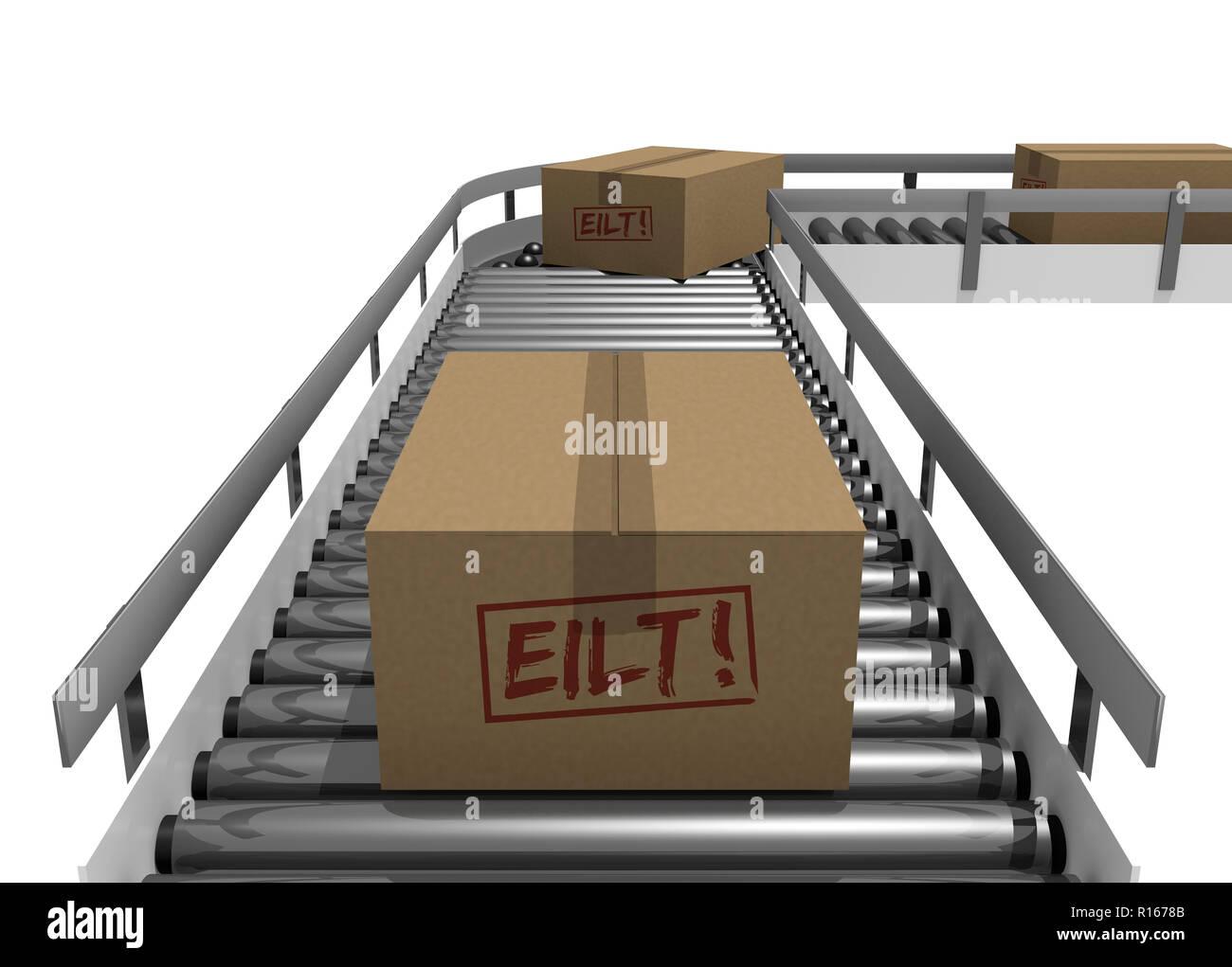 conveyor carton taxiway belts warehouse mail transport - Stock Image