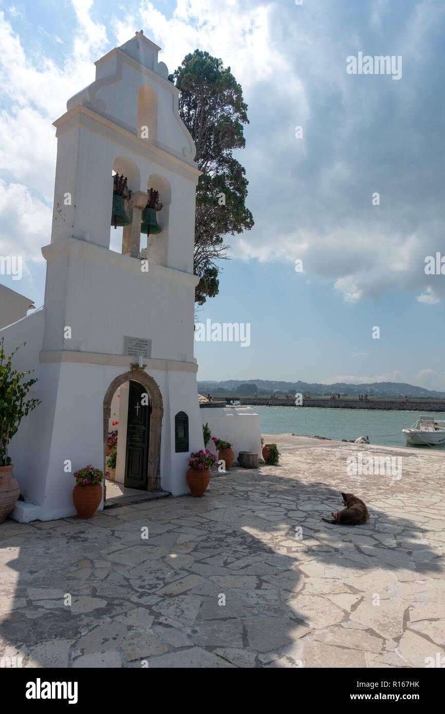 Das Kloster der Mäuseinsel auf Korfu - Corfu - Griechenland - Greece - Island - Stock Image