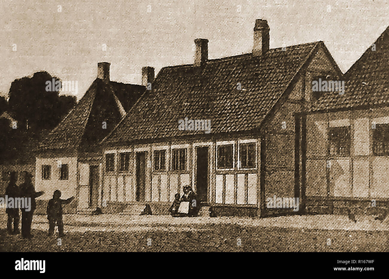 An old illustration showing the birthplace of Hans Christian Andersen (1805-1875) in Odense, Denmark - Stock Image