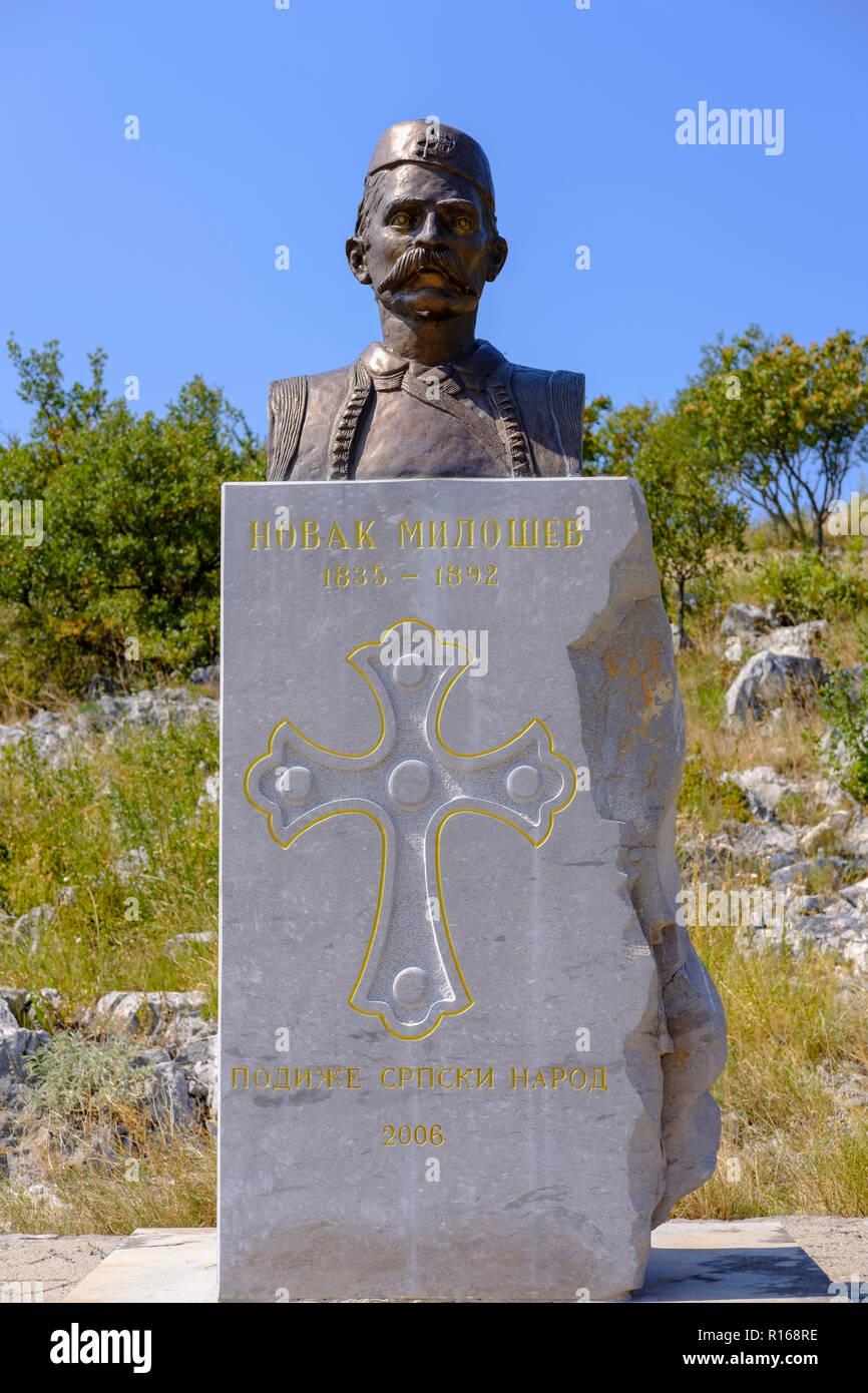 Novak Milosev Monument near Medun, near Podgorica, Montenegro - Stock Image