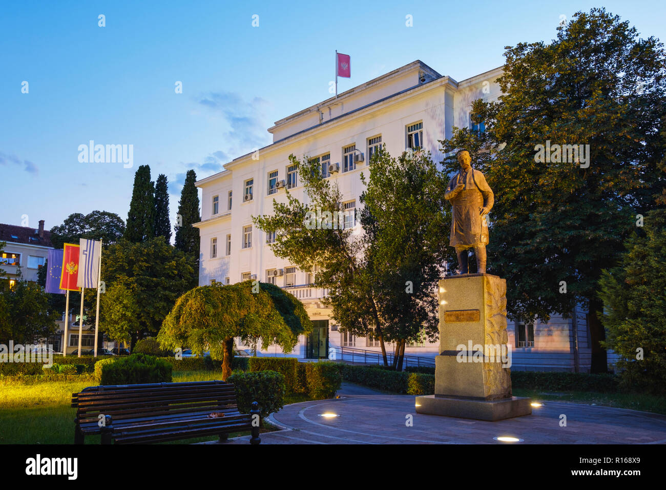 Monument to freedom fighter and poet Marko Miljanov in front of city administration, Podgorica, Montenegro - Stock Image