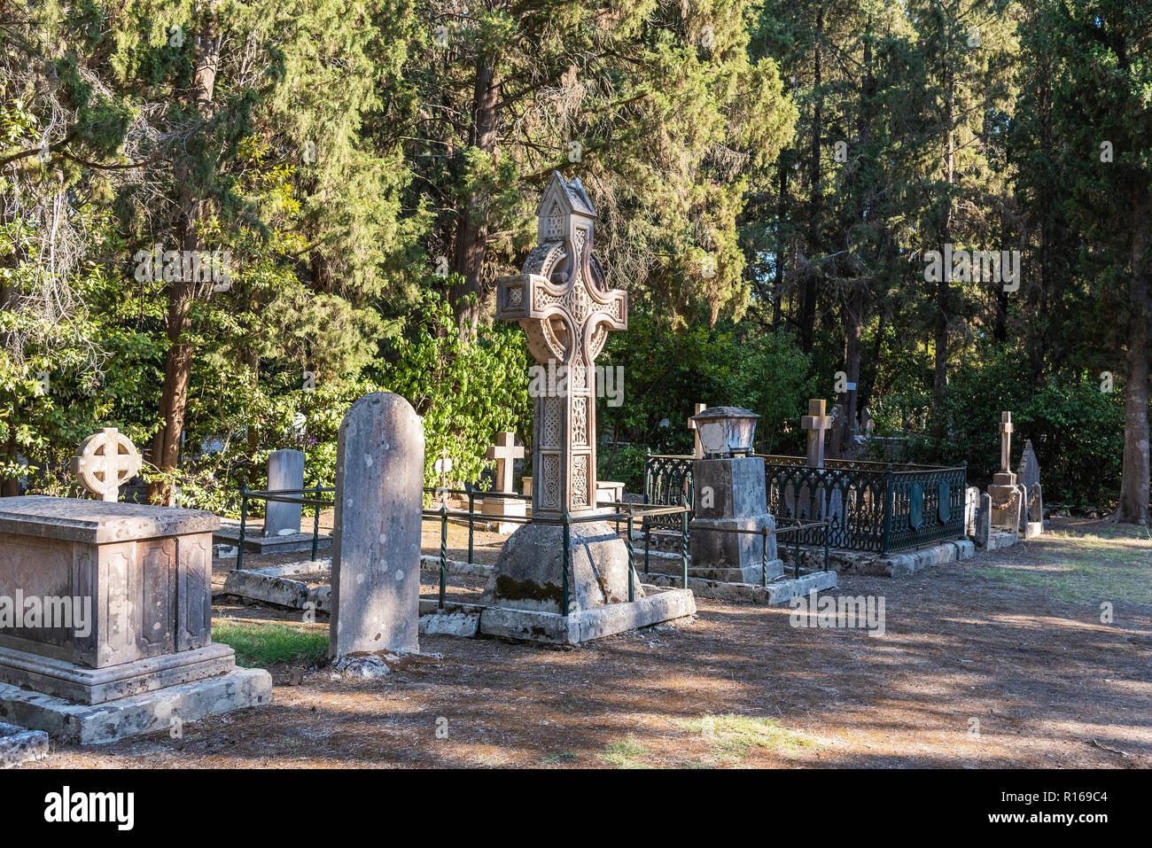 Gravesites, British cemetery, Kerkyra, Corfu Island, Ionian Islands, Greece - Stock Image