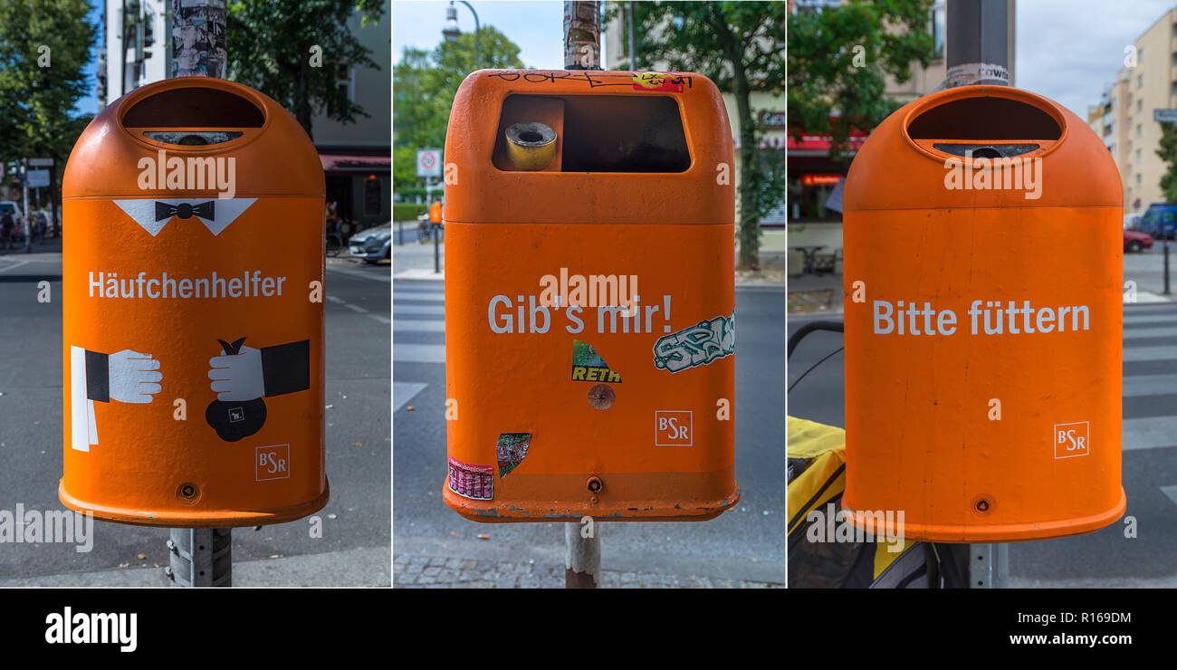 Municipal wastebaskets with homorous sayings, Kreuzberg, Berlin, Germany - Stock Image