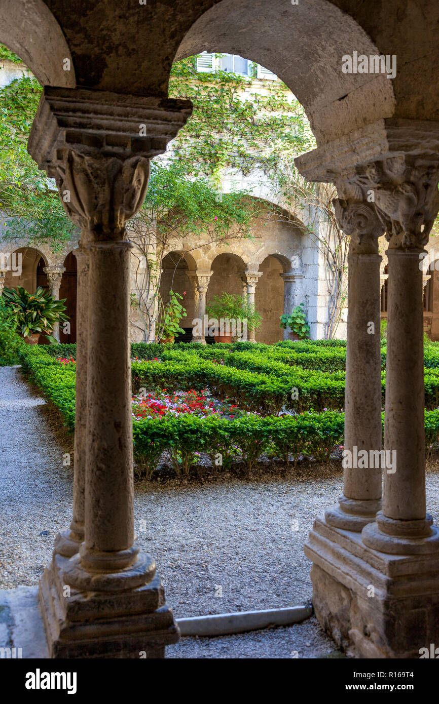 Courtyard of St Paul de Mausole - asylum where Vincent Van Gogh was treated near St. Remy de-Provence, France - Stock Image