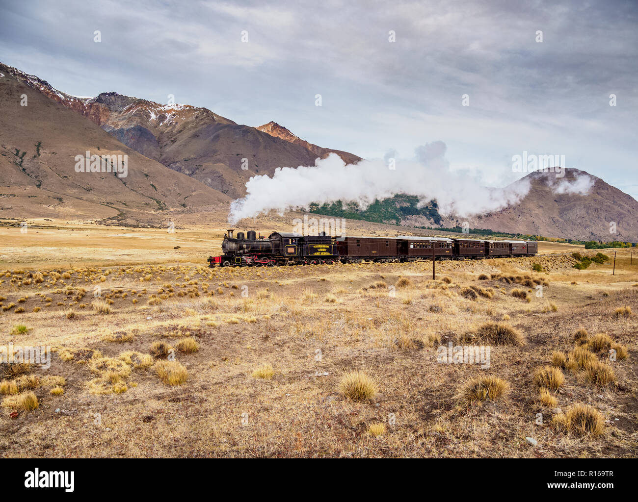 Old Patagonian Express La Trochita, steam train, Chubut Province, Patagonia, Argentina Stock Photo