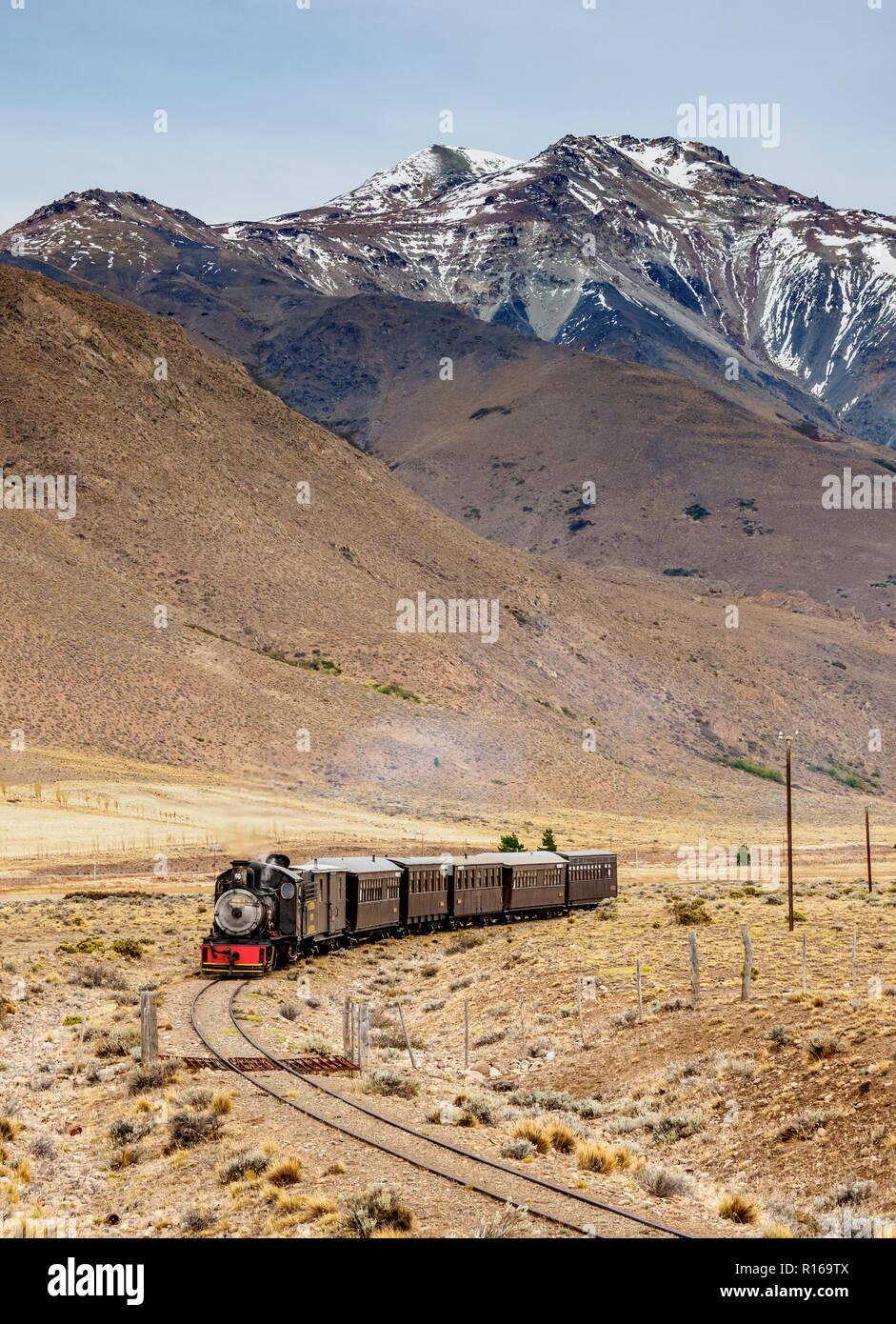 Old Patagonian Express La Trochita, steam train, Chubut Province, Patagonia, Argentina Stock Photo