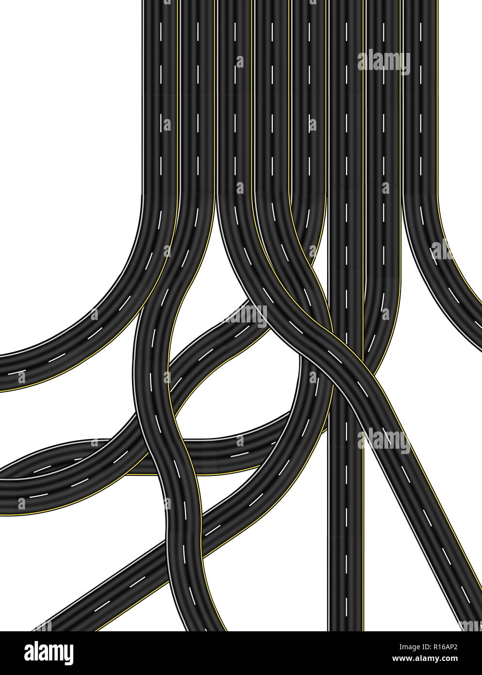 Intersections and slip roads leading to eight lane highway, digital image, overhead view - Stock Image