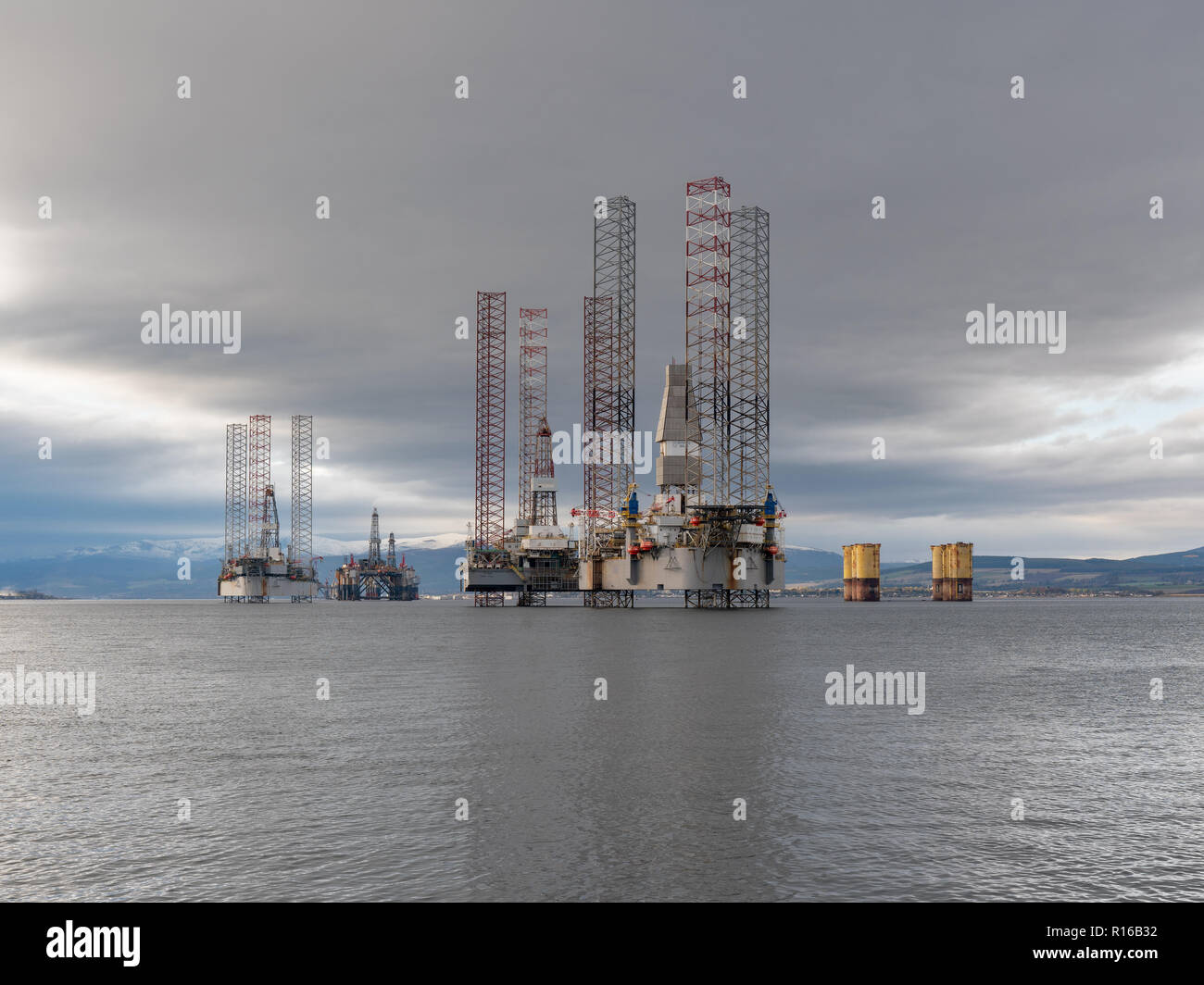 This is a scene of the Oil Rigs berthed within Cromarty Firth on Wednesday 31 October 2018. Photographed - FREELANCE - by JASPERIMAGE ©. Stock Photo