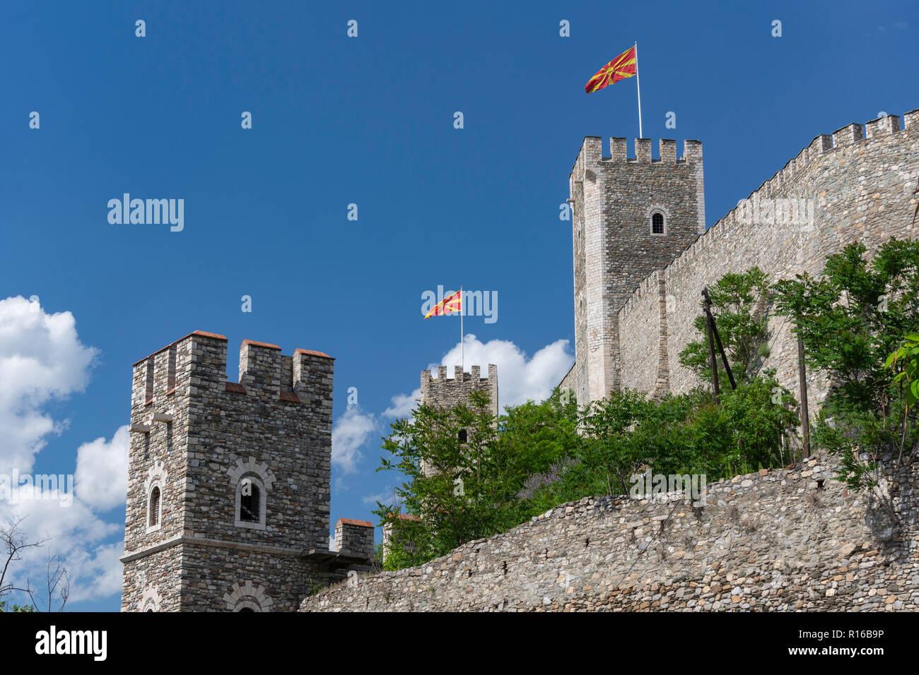 Outer walls of Skopje (Kale) Fortress, Skopje, Skopje Region, Republic of North Macedonia - Stock Image