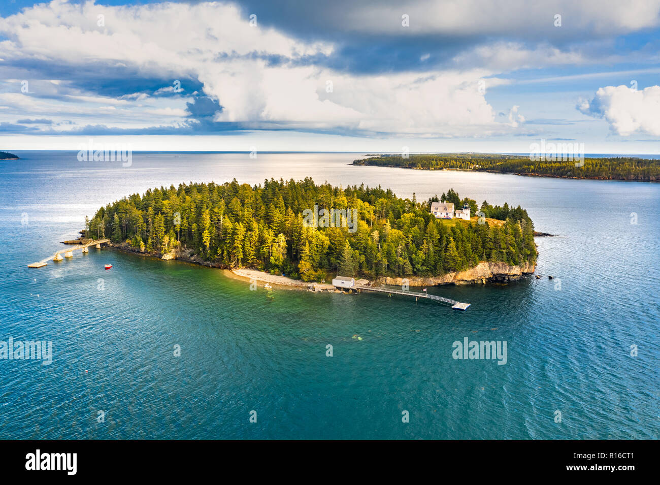 Aerial view of Bear Island. Bear Island and the Bear Island Lighthouse are located in the community of Cranberry Isles, in Acadia National Park, Maine Stock Photo