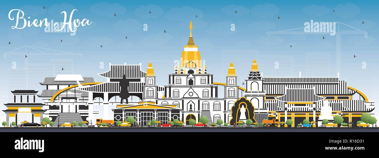 Bien Hoa Vietnam City Skyline with Gray Buildings and Blue Sky. Vector Illustration. Business Travel and Tourism Concept with Historic Architecture. - Stock Image