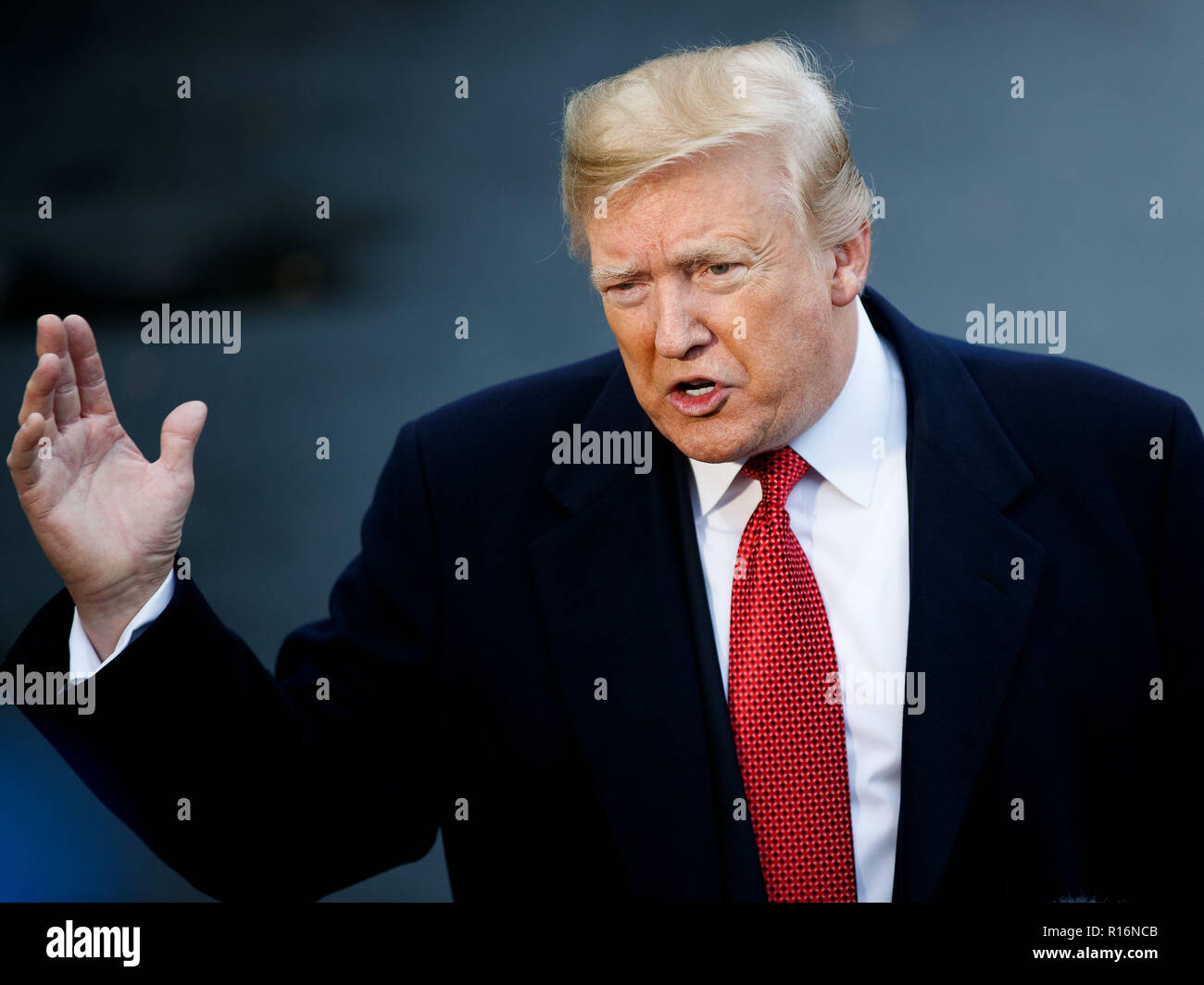 Washington, USA. 9th Nov, 2018. U.S. President Donald Trump speaks to reporters at the White House in Washington, DC, the United States, on Nov. 9, 2018. Trump said here on Friday that the person to replace Nikki Haley as the new ambassador to the United Nations is still under consideration. Credit: Ting Shen/Xinhua/Alamy Live News - Stock Image