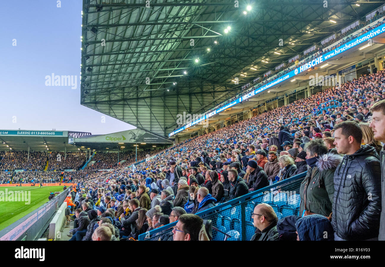 East Stand at legendary Elland Road stadium. The stadium, which is the home of Leeds United FC, is famous for its electric atmosphere. - Stock Image
