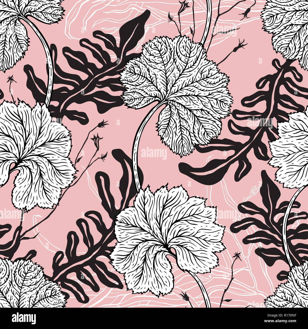 Vintage Victorian Pattern With Hand Drawn Leaves Seamless