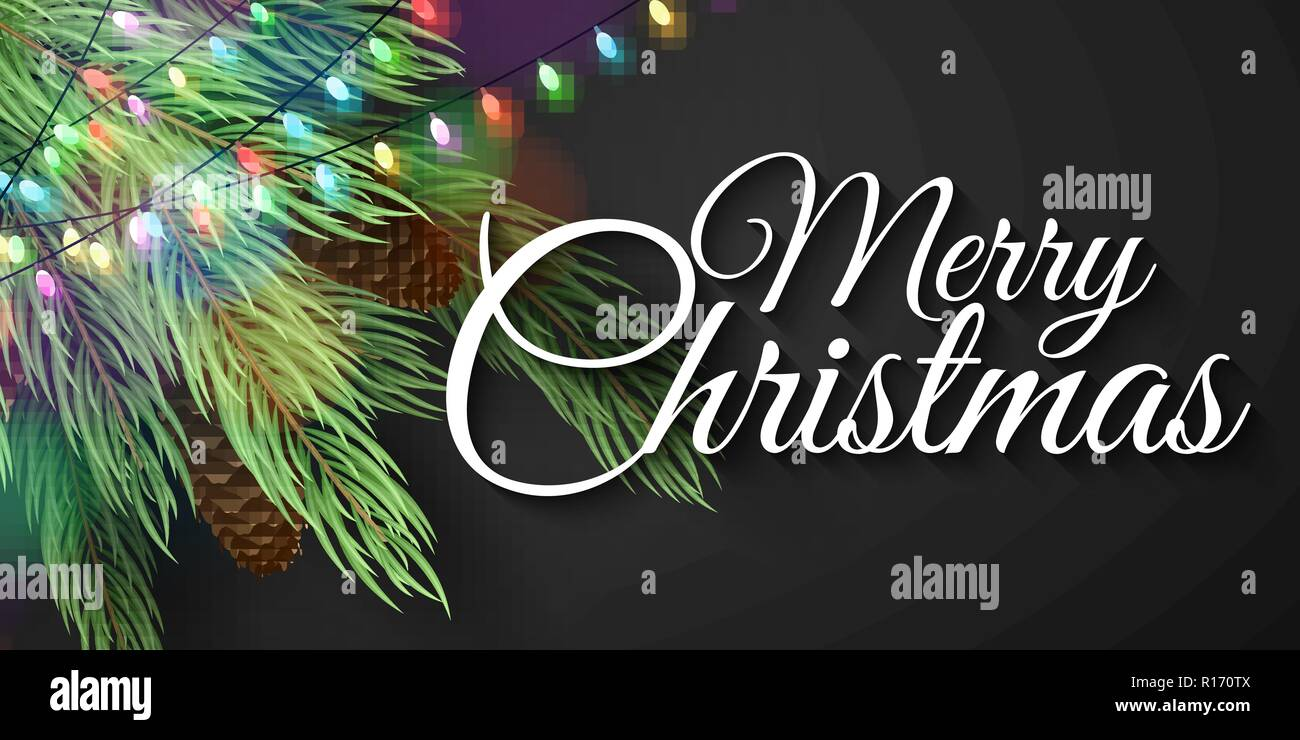 merry christmas banner christmas tree with cones glowing multicolored garland calligraphic text vector illustration eps 10 stock vector image art alamy https www alamy com merry christmas banner christmas tree with cones glowing multicolored garland calligraphic text vector illustration eps 10 image224503802 html