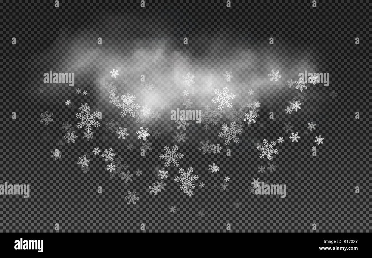 Realistic cloud with snowflakes  Falling Christmas snow on a
