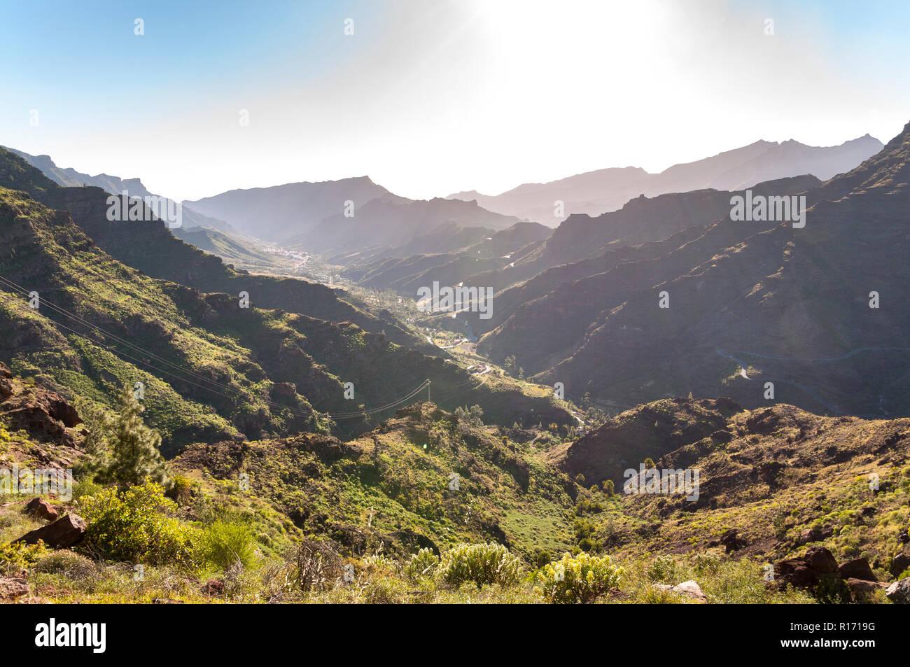 Mountainous landscape in the interior of the Gran Canaria Island, Canary Islands, Spain. Photo taken from the Mirador El Mulato, Lookout Mulatto. Stock Photo