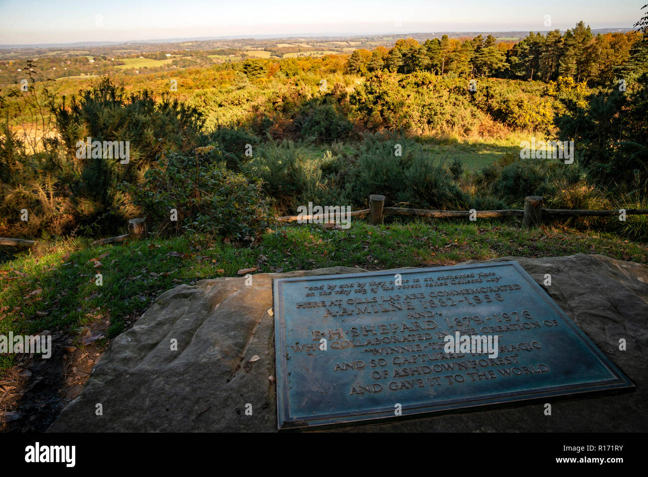 The memorial to AA Milne and EH Shepard at Gills Lap in Ashdown Forest, East Sussex, UK - Stock Image