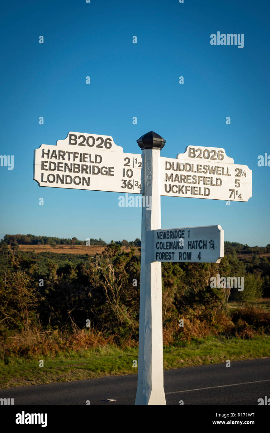 Old fashioned road sign in Ashdown Forest, East Sussex, UK - Stock Image