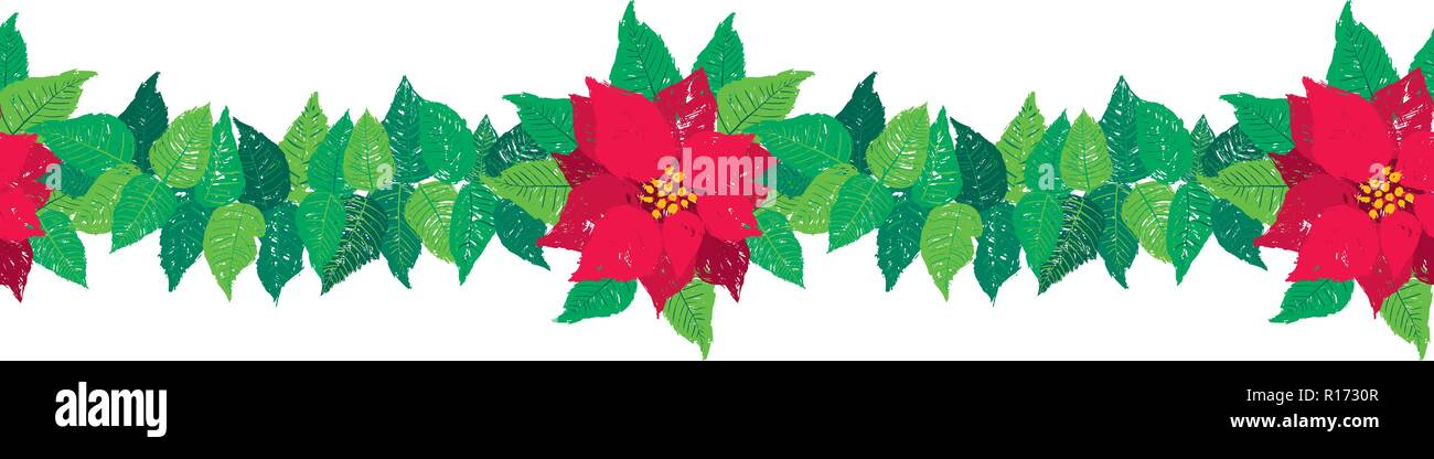 Vector Christmas Seamless Garland Border With Red Poinsettia Flowers And Green Leaves Stock Vector Image Art Alamy