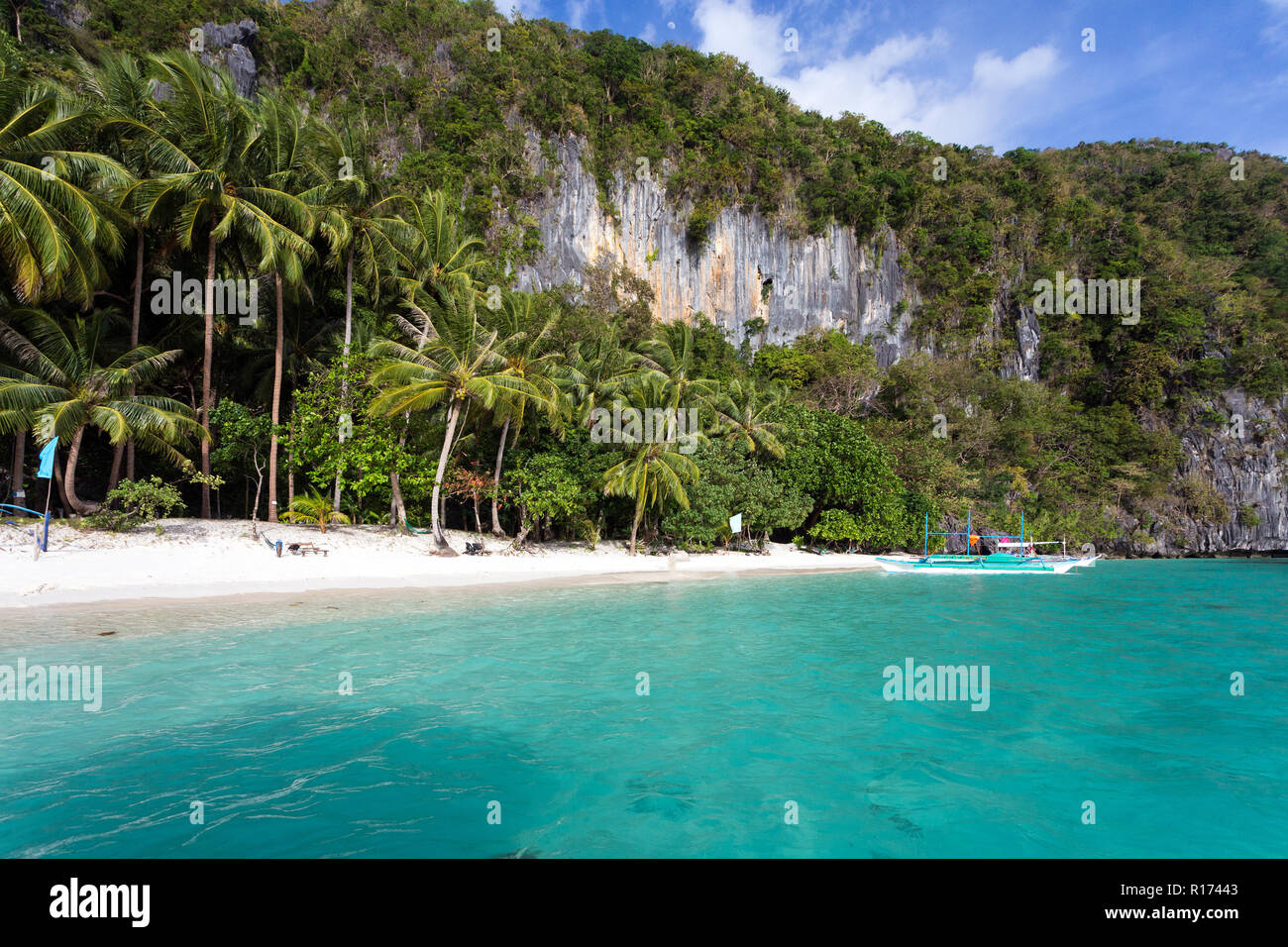 Tranquil Tropical Beach In El Nido Palawan Island