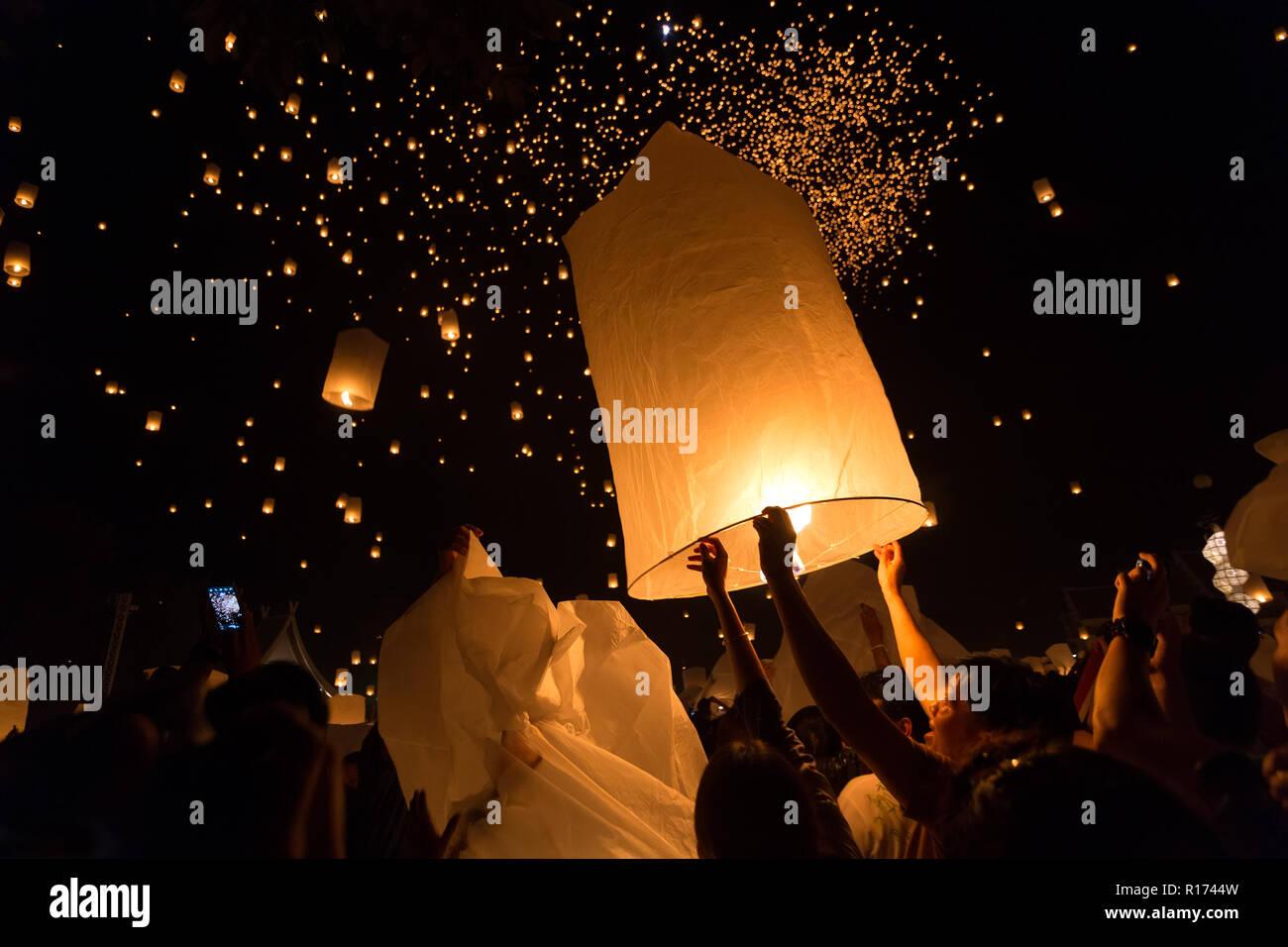 Chiangmai Thailand November 16 Thai People Launching Sky